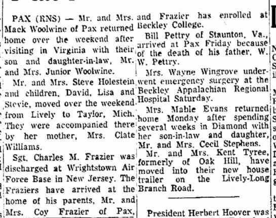 Mack/Junior WoolwineKent Tyree - (RNS) -- Mr and Mrs. and Frazler has enrolled...