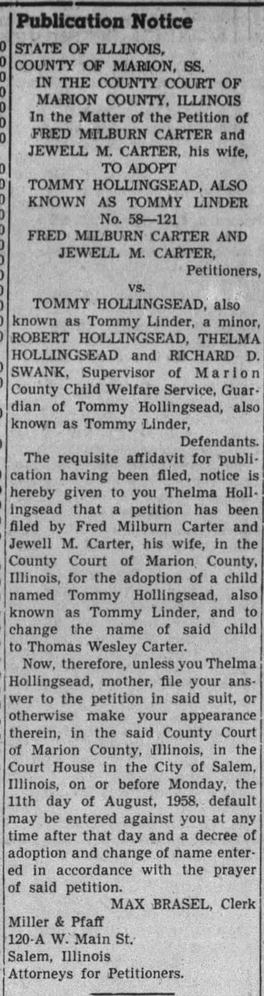 Fred Milburn Cater and wife Jewell M () to adopt Tommy Hollingsead/Linder Aug 11 1958 -