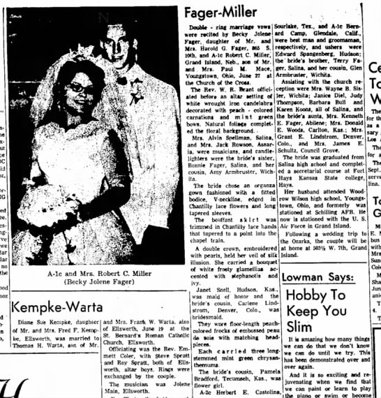Becky Fager wedding, Judy Thompson assisting recep. 30 June 1965 -
