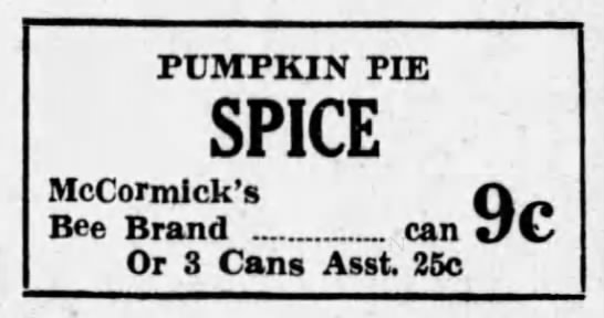 1934 ad for McCormick's pumpkin pie spice -