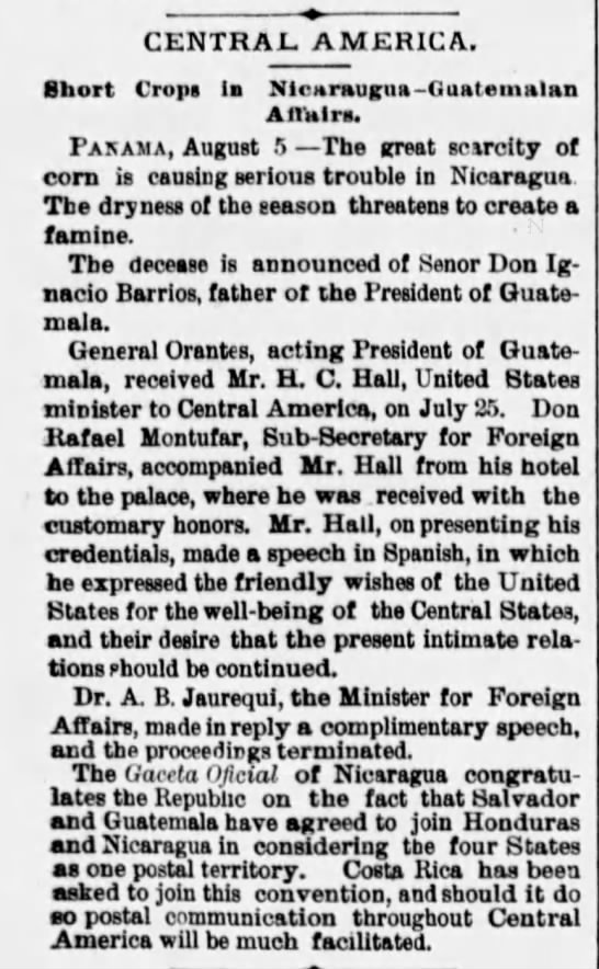 Central America. The Philadelphia Inquirer. (Philadelphia, Pennsylvania) 15 August 1882, p 8 -