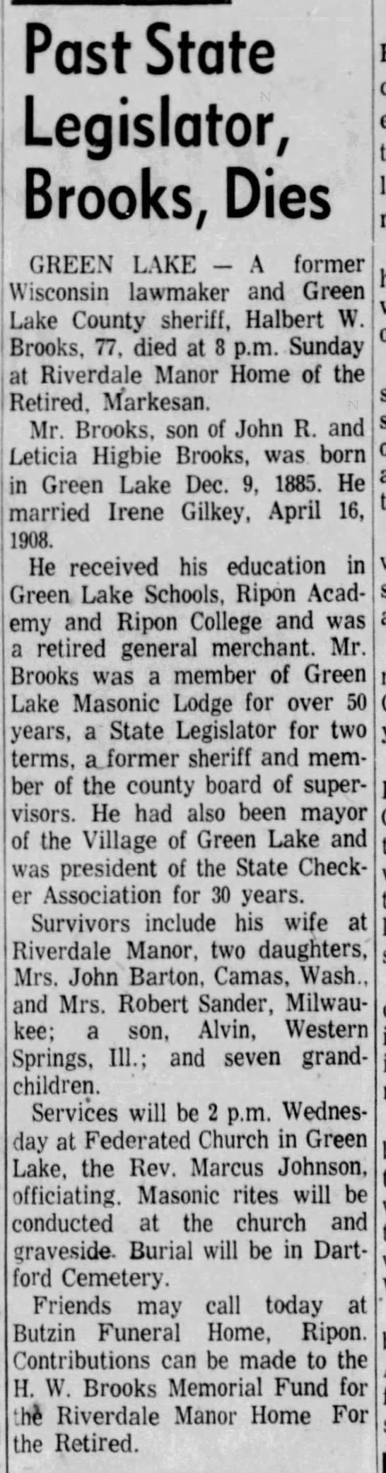 Halbert W. Brooks (1885-1963) - Past State Legislator, Brooks, Dies GREEN LAKE...