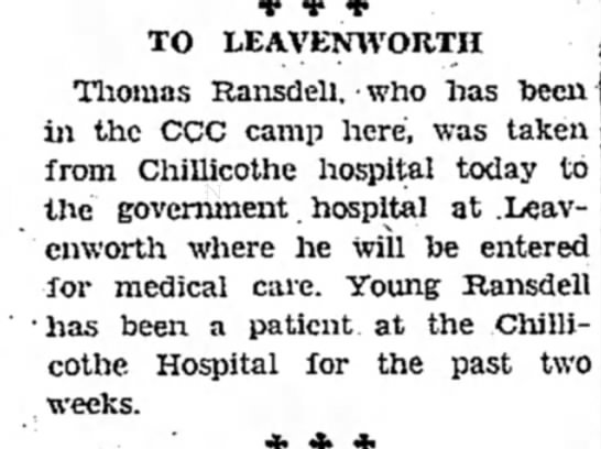 Thomas Ransdell to Leavenworth for medical care -