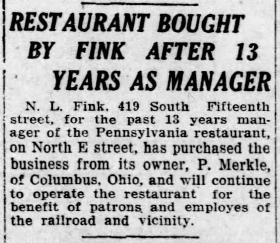 Restaurant bought by Fink -