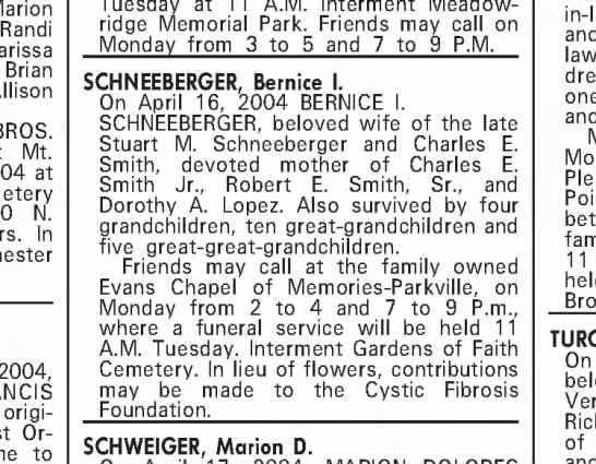 Obituary for Bernice Duggan Schneeberger 2004 -