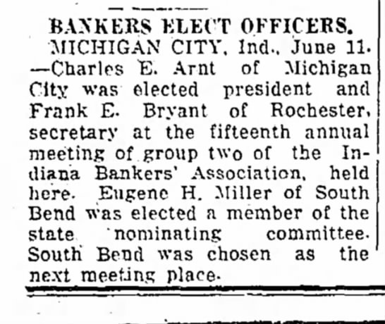 - BANKERS ELECT OFFICERS. MICHIGAN CITY, Ind.,...
