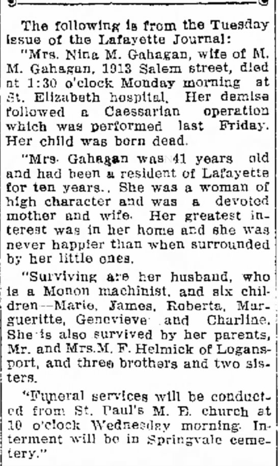 Nina Helmick Gahagan obit 1921 - predecessor. o° old of service others the the...