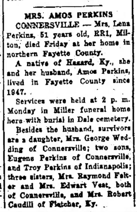 19581023 Lena Perkins obituary (Died Friday) -