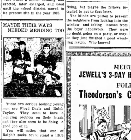 Floyd Davis And Ralph Taylor 18 Aug 1938 The Jewell Record Jewell