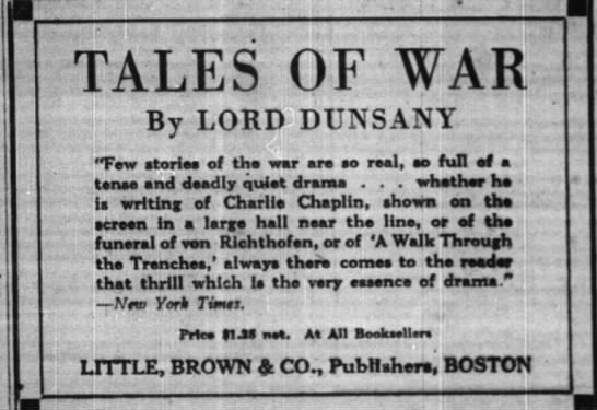 Lord Dunsany - Tales of War description -