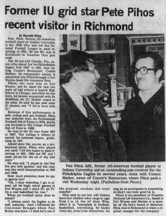 Former IU grid star Pete Pihos recent visitor in Richmond - Former I U grid star Pete Pihos recent visitor...