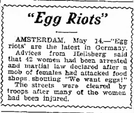 Mobs of women want eggs. -