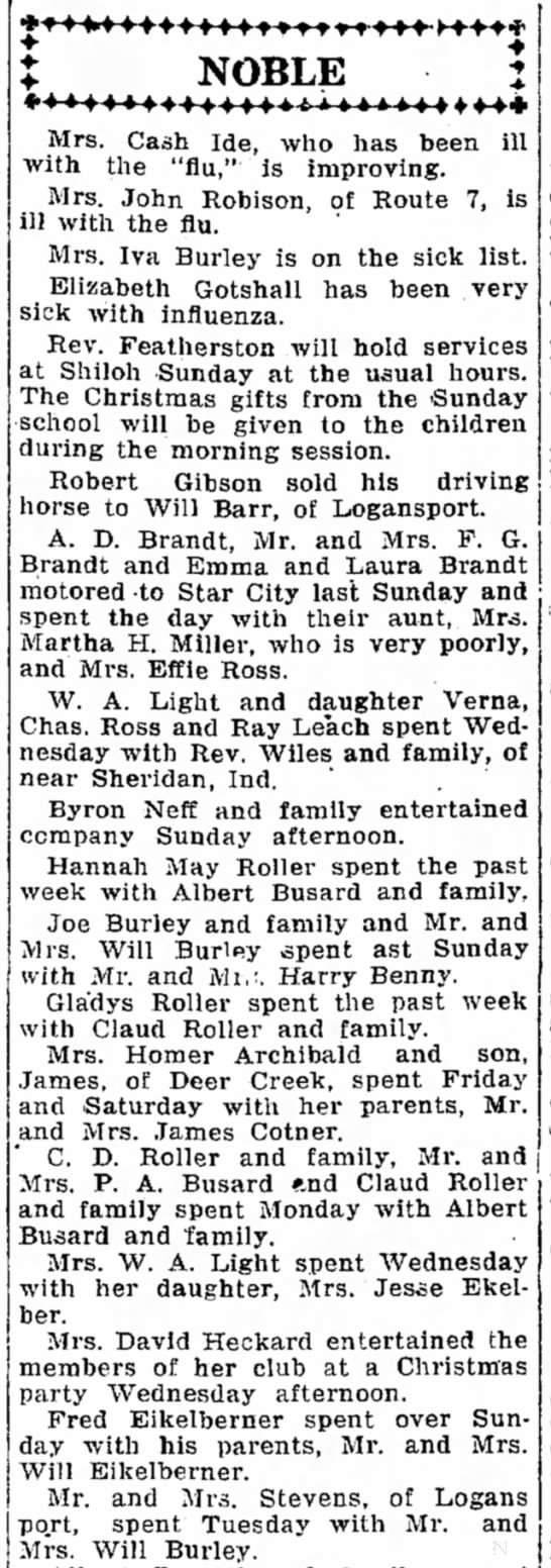 Joe Burley 21 Dec 1918 Logansport Pharis -