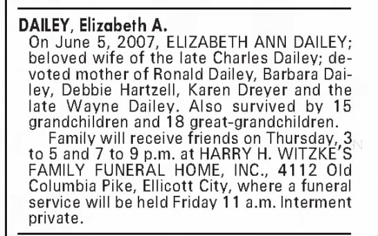 Obituary Elizabeth Ann Dailey (Wife of Charles Dailey) The Baltimore Sun June 6, 2007 pg. B6 -