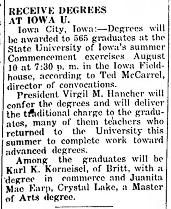1955 Aug 3 Karl K Korneisel graduated w degree in commerce Iowa State Univ -