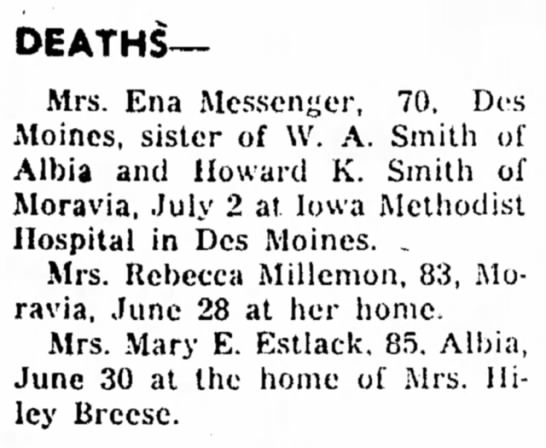 Mary E Estlack Deaths MCN 3 jul 1961 Pg 1 -