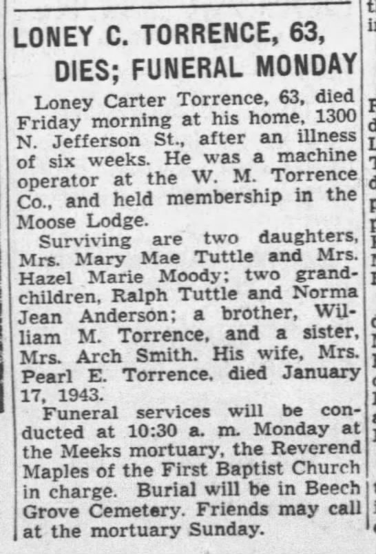 Loney Carter Torrence obit -