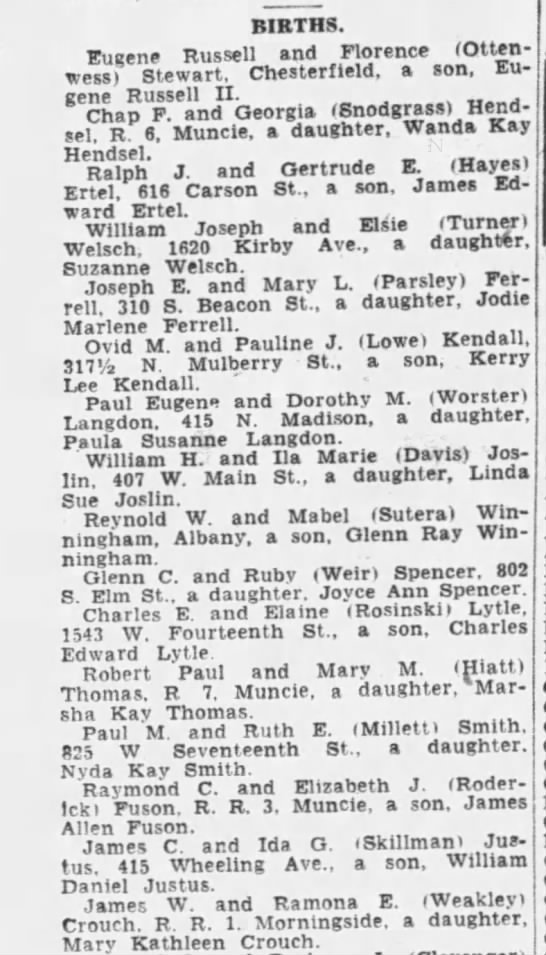 Kathy birth announcement 12 Sep 1947 Muncie Evening Press Muncie, Indiana -