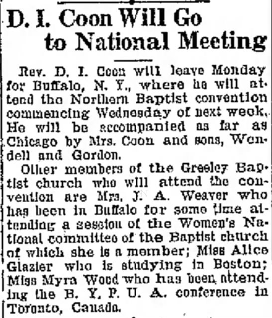 Rev. Coon goes to National Meeting - D. I. Coon Will Go to National Meeting Hev. D....