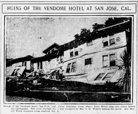 San Jose hotel damaged in 1906 earthquake -