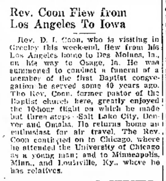 Rev. Coon flies from LA to Des Moines - Rev. Coon Flew from Los Angeles To Iowa Jlcv....