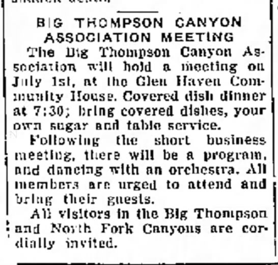 Big Thompson Canyon Association 1942 Glen Haven Community House -