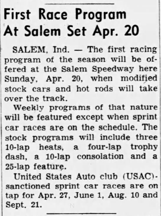 1958_04_03 -First Race at Salem April 20- Richmond Pall-Item page 12