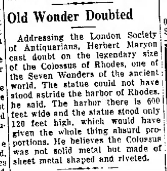 Herbert Maryon on the Colossus of Rhodes, Greeley Daily Tribune, 1 May 1954 -