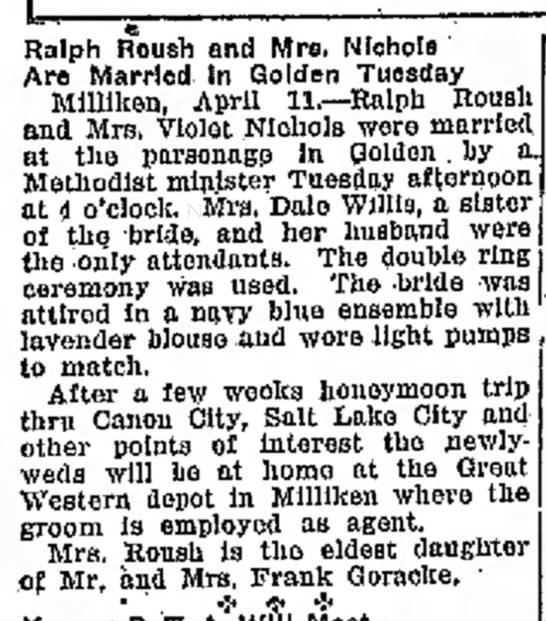 Ralph Roush and Violet Goracke Wedding 1930 - Roush and Mro. Nichols Are Married In Golden...