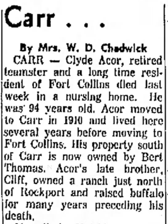 Acor, Clyde Death Notice -