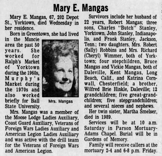 Mary Hinkle Stanley Mangas obit -