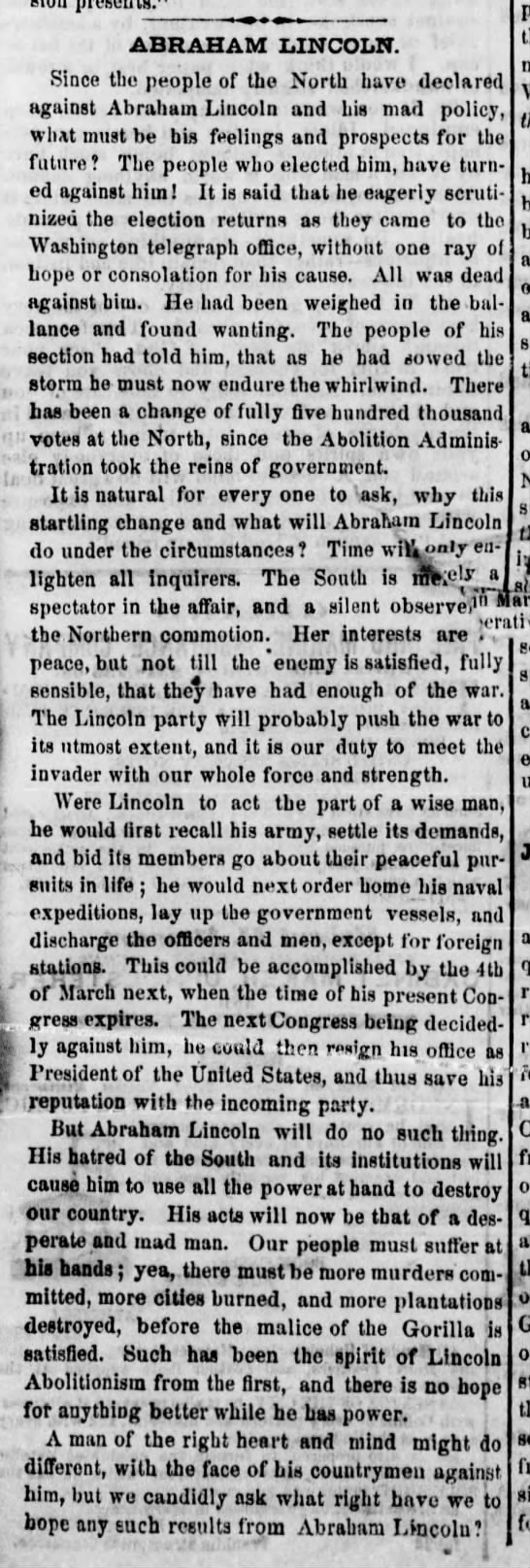 "1862 Mississippi newspaper editorial calls Abraham Lincoln a ""desperate and mad man"" -"