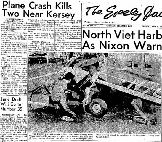 Article about plane crash of Robert Eldon Boyce - Plane Crash _ Two Near Kersey By M I K E PETERS...