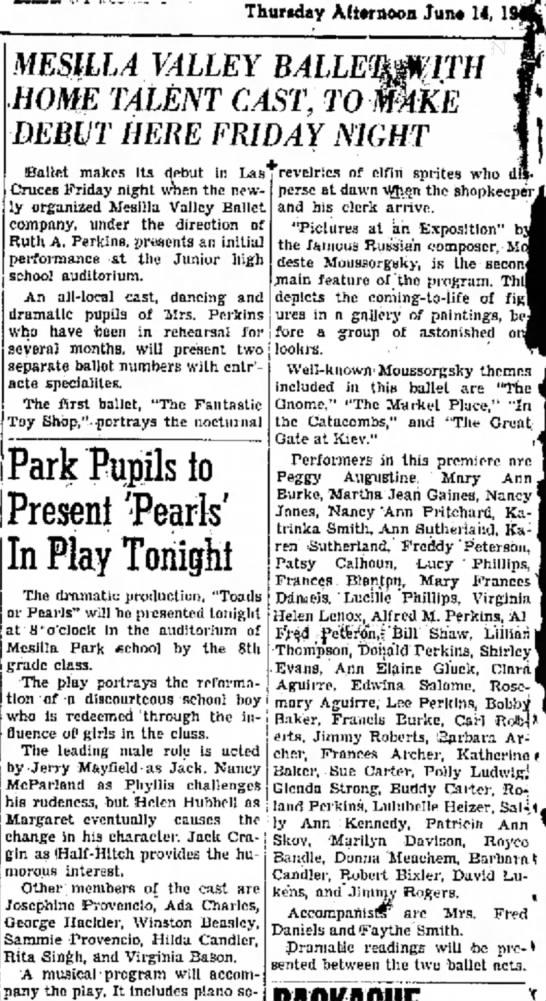 14 June 1945  Mesilla Valley Ballet premier -