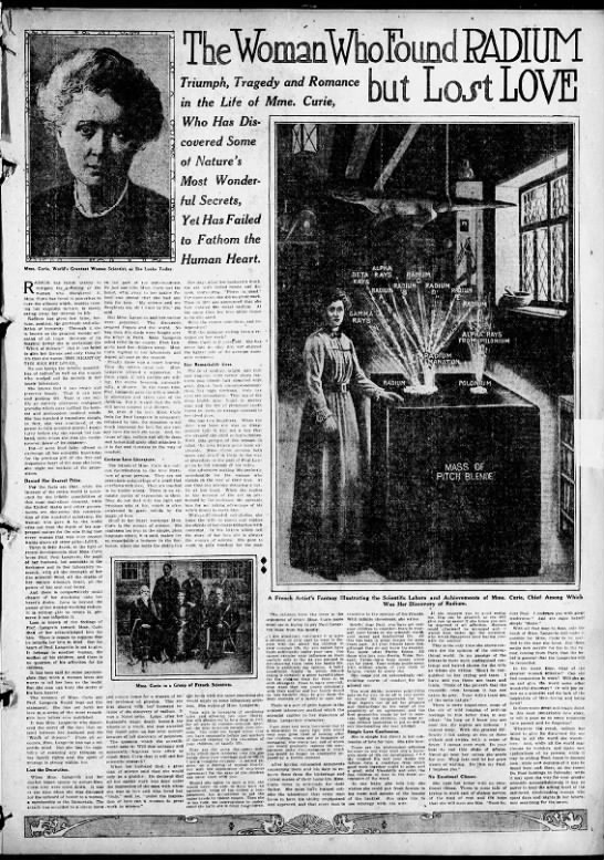 Newspaper feature with one perspective on Marie Curie's scandal with Paul Langevin -