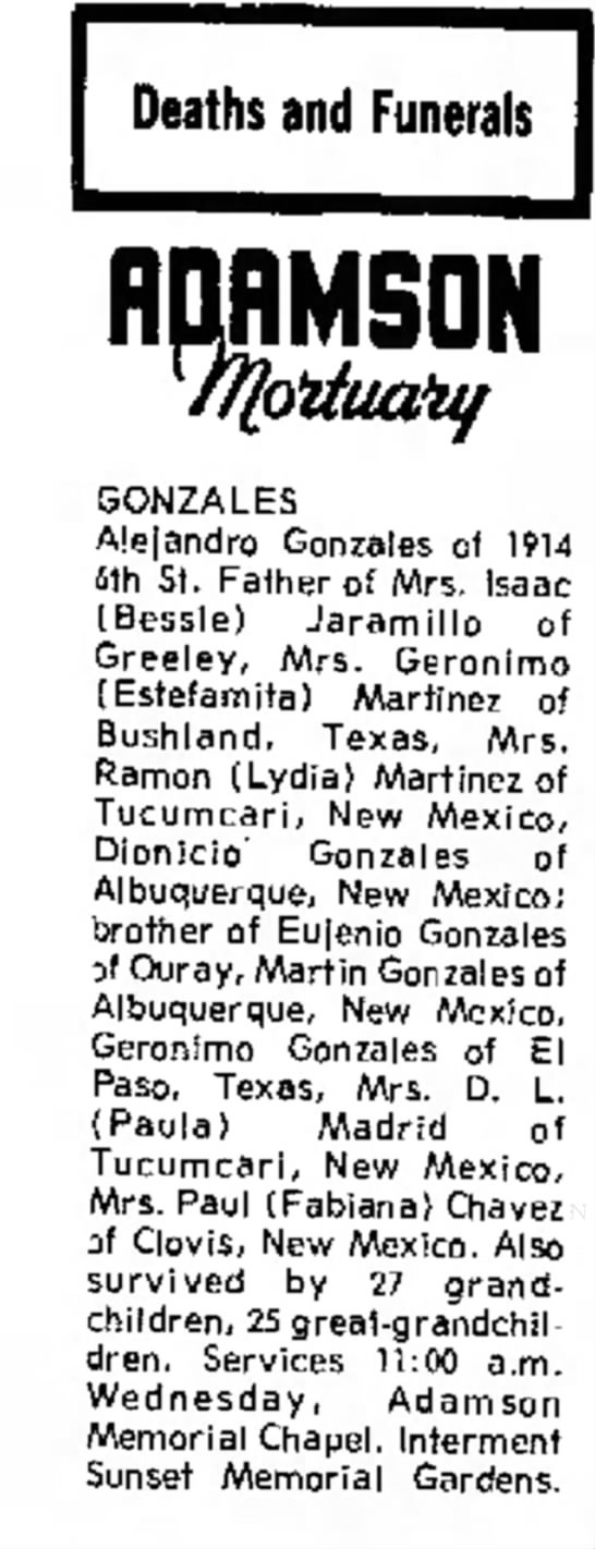 Alejandro Gonzeles Greeley Daily Tribune 21 Aug 1973 - Deaths and Funerals HDRMSDN GONZALES Alejandro...