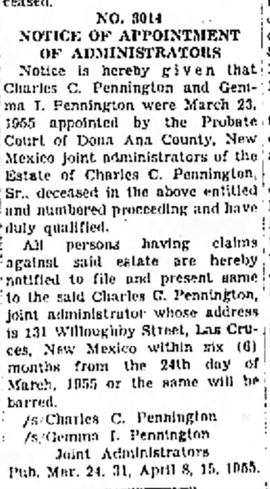 Appointment of Administrators for Charles C Pennington Sr. Probate April 1955 -