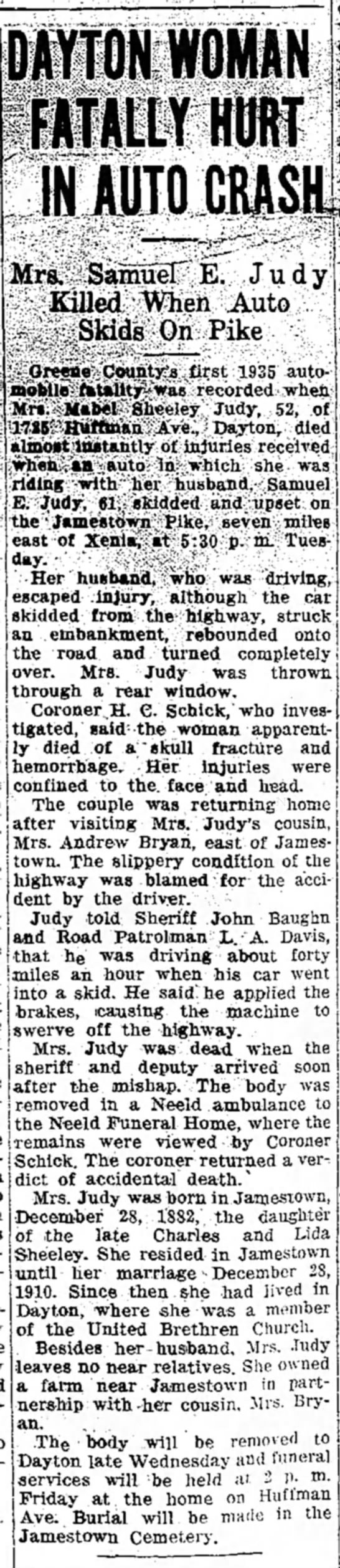 Mabel C (Sheley) Judy newspaper death notice - ram WOMAN FUTALLY HURT IN AUTO CRASH! Mrs....