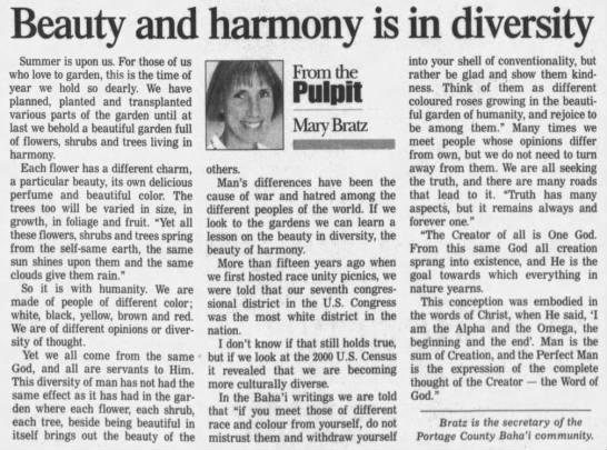 Baha'i Mary Bratz contributes article -