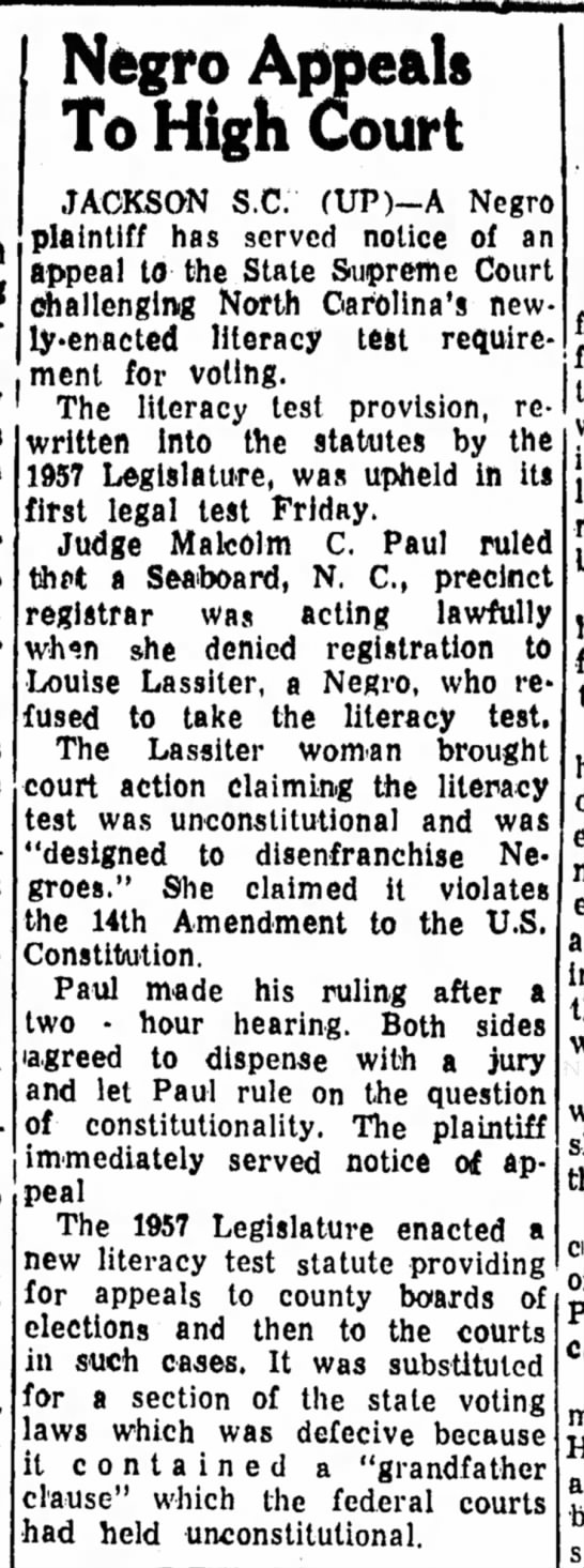 Louise Lassiter challenges literacy test 12 Aug 1957 -