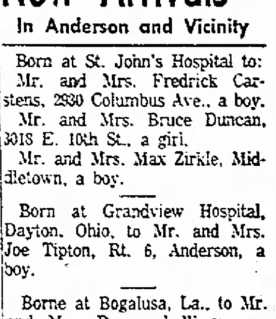 daughter to Bruce Duncan - In Anderson and Vicinity Born at St. John's...