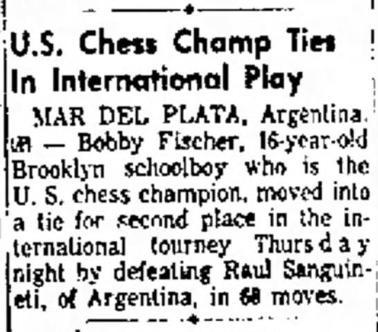 U.S. Chess Champ Ties In International Play -