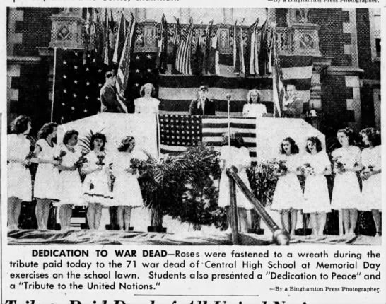 Central High School in Binghamton, NY, pays tribute to war dead -