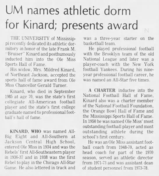 UM names athletic dorm for Kinard; presents award -