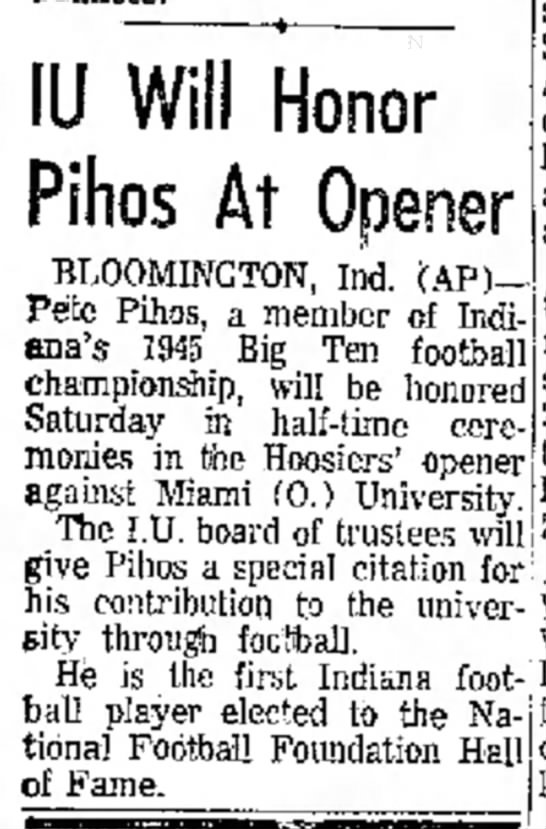 IU Will Honor Pihos At Opener -