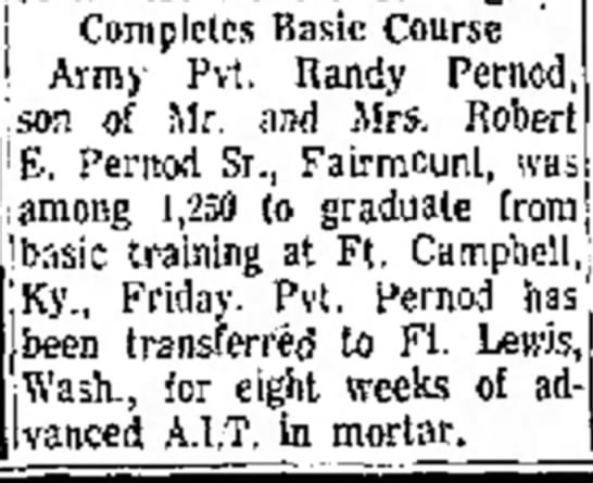 Randy Pernod complete Basic Training Anderson Herald 21 Jul 1968 -