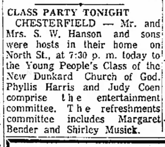 Dunkard Church Class Party - 14 Dec 1957 - Shirley Musick -