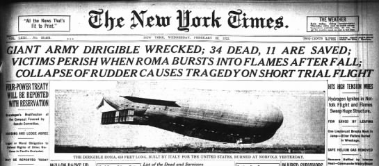 34 Die When US Army Airship Roma Hits Powerlines -