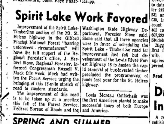 Spirit Lake and Timberline highway project -