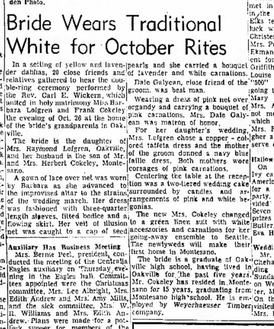 Barbara Lofgren wedding The daily Chronicle 11-3-1956 Centralia Washington -